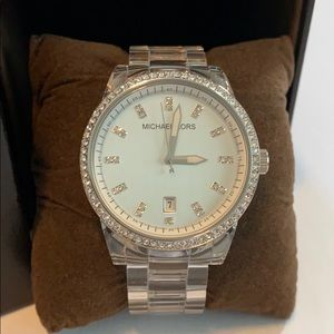 Michael Kors wrist watch clear band silver face